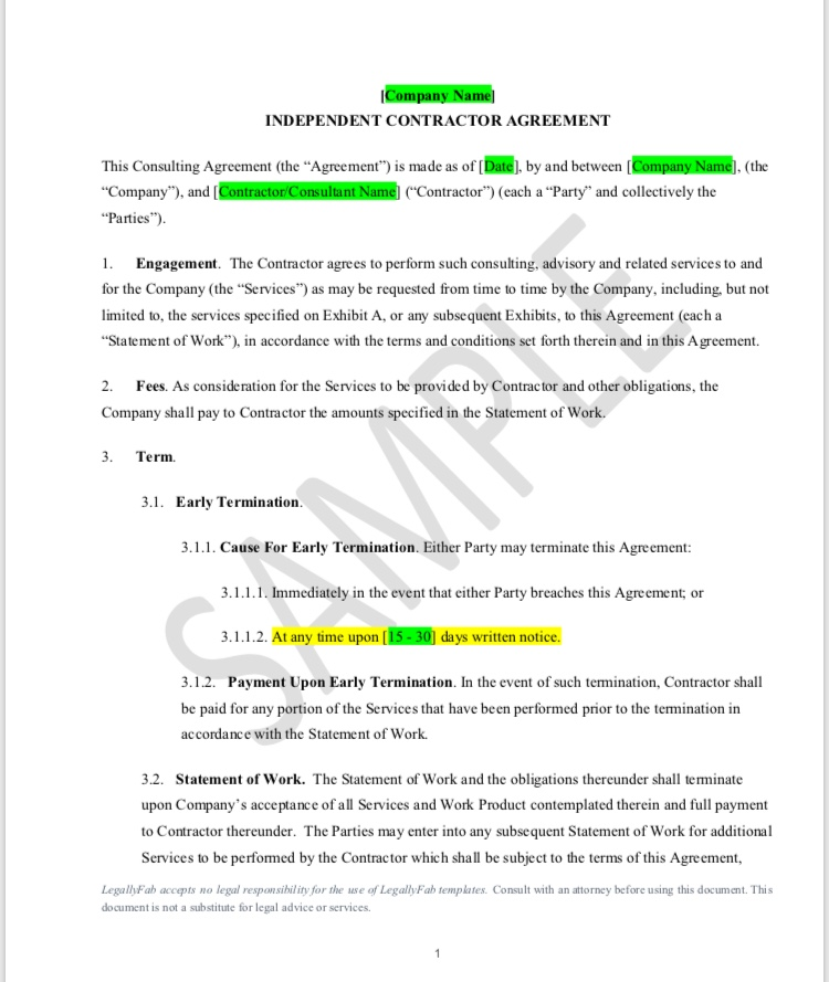 Independent Contractor Agreement General  Legally Fab