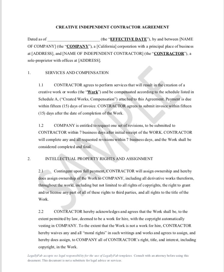 Independent Contractor Agreement Creative Legally Fab